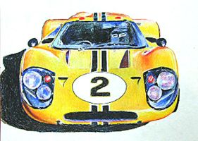 Ford GT Mark IV, Yellow by johnwickart
