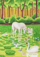 Unicorn in water lily pond by Finya-Vardeen