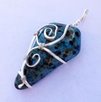 Wire-Wrapped Blue Dalmatian Jasper Pendant by FaerieForgeDesign
