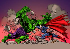 Hulk vs. Superman coloring by frostdusk