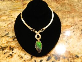 solid gold pendant with ammolite by DPBJewelry