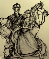 Rapunzel, Flynn and Maximus by herrrox