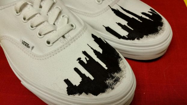 New York Skyline - Hand Painted Vans by valdakis