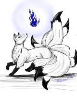 Commission 9 Tail Fox by DawnLeopardess