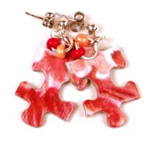 Coral Pink Puzzle Piece Earrings by annjepsen