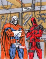 Taskmaster and Deadpool ARTIST PROOF Sketch Card by danielhdr