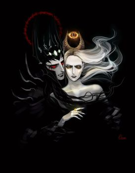Sauron Melkor bound in darkness by Elveo