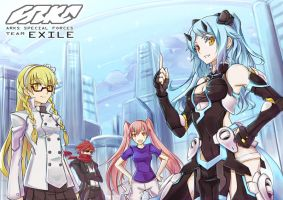 PSO2 Fan Art - Team EXILE by abyss-crimson