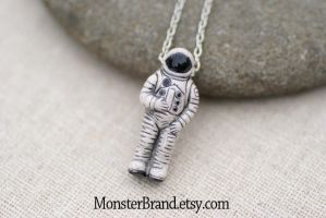 Tiny Astronaut Necklace by MonsterBrandCrafts