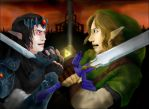 Dark Link Vs. Link by super-fergus