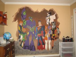 legion of superheroes mural by tenredturtles