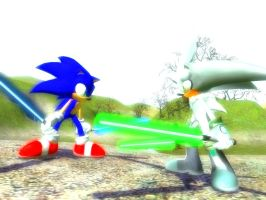 Star Hedgehogs - Sonic VS Silver 1 by NeoMetalSonic360