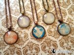 Vintage Shoujo Manga Pendant Necklaces by DragonBeak