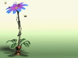 Mechanical Flower Wallpaper by evilhomer145
