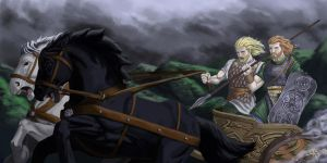 the last ride of Cu Chulainn by Gamusinohunter