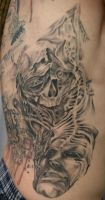 Rib TaT Face Skull by 2Face-Tattoo