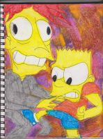 Bart Kicking Bob by RozStaw57
