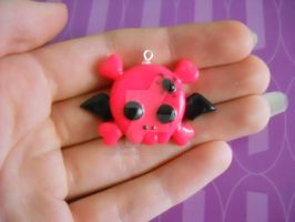 Winged Skull and Crossbones Polymer Clay Charm by ResurrectedVampire69