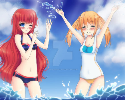Commission: Red heart and Orange heart by Shiroisennyu