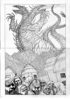 Fire Ice Dragon Pencil sketch concept for Terathan by ebizcraftsman