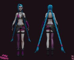 Jinx the loose cannon Wireframe by Azraele