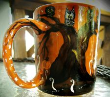 The Halloween Tree -handpainted mug by InkyDreamz