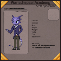 Wanschepsel Academy Application - Dean Davimudar by Dianamond