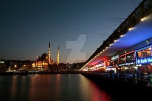 Galata Bridge and New Mosque by EtemColaK