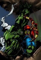 R1lf's Hulk vs. Iron Spiderman by Deathring2000
