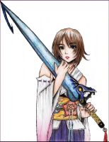 Yuna with Tidus' Sword by NoTickleElmo