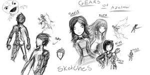 Gears of Azelmai sketches by thesaphiremoon
