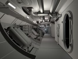 Spaceship Hallway by D-Mounty