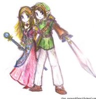 link and Zelda by RogueAngelAlan