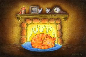 Fireplace Cat by spiraln