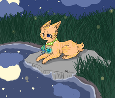 commish: lounging by the pond. by xBadgerclaw