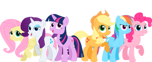 Comission: Mane 6 standing by Spectty