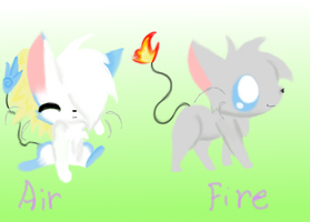 air and fire element cats by chocolate-blobeh