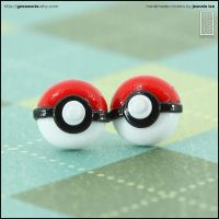 Pokemon Ball Stud Earrings by junosama