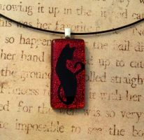 Red Cat Fused Glass Pendant Necklace by FusedElegance