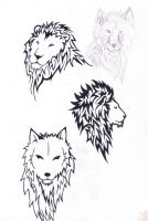 lions and wolves by wolfds