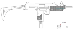 Uzi  lineart by 96blackarrow