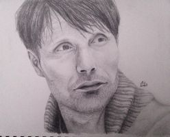 My First Realistic Face: Mads Mikkelsen by Misaswisa