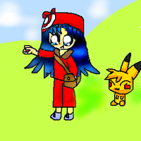 Pikachu and a trainer by sunline