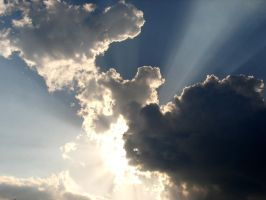 Cloud Beams and Airplane by Sharondipity