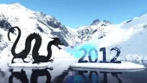 Mountains, black water dragon 3D 2012 by armas777