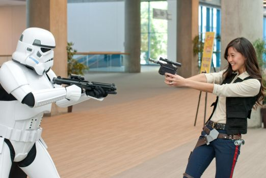 Han Solo Cosplay and Stormtrooper by milkchess