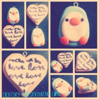 Penguin and Love Heart Charms by Creative-4ever