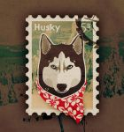 Stamp - Siberian Husky by H0UST0N