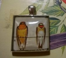 swallows-on-a-power-line pendant by HiddenStash