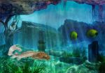 CC white mermaid waterscape1 by starlight2infinity